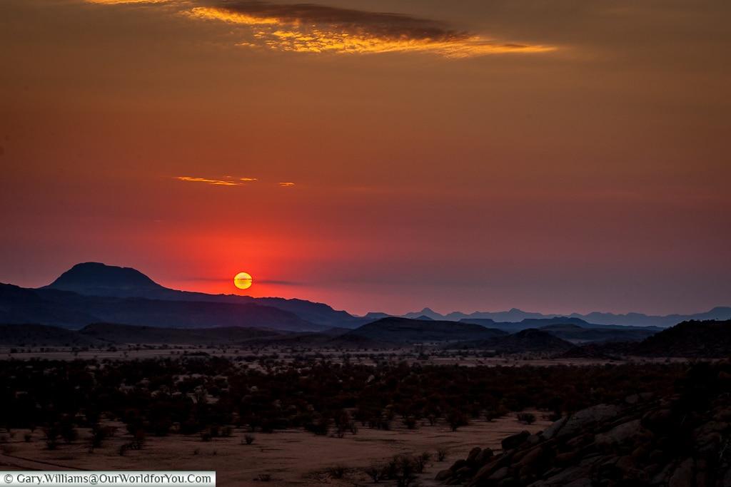Sunset at Camp Kipwe, Twyfelfontein, Namibia