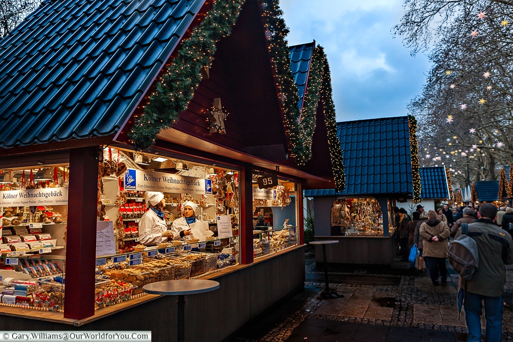 All kinds of stollen for sale at the Angel Christmas Market, Cologne, Ger,any