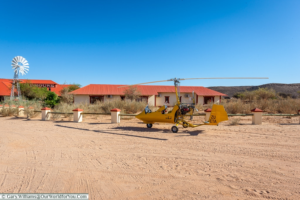 Gyrocopter at the Roadhouse, Fish River Canyon, Namibia