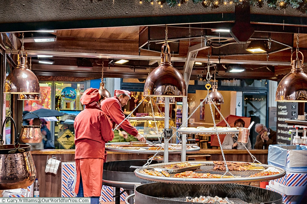 Food, glorious food at the Christmas Markets, Cologne, Germany