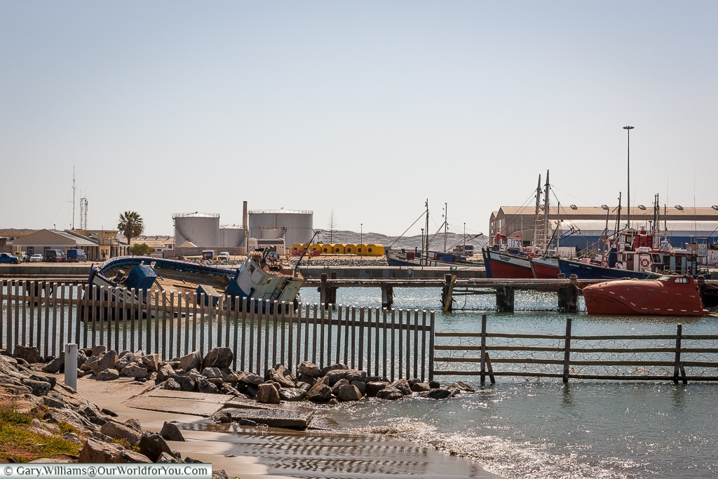 The industrial side of the harbour,Lüderitz, Namibia