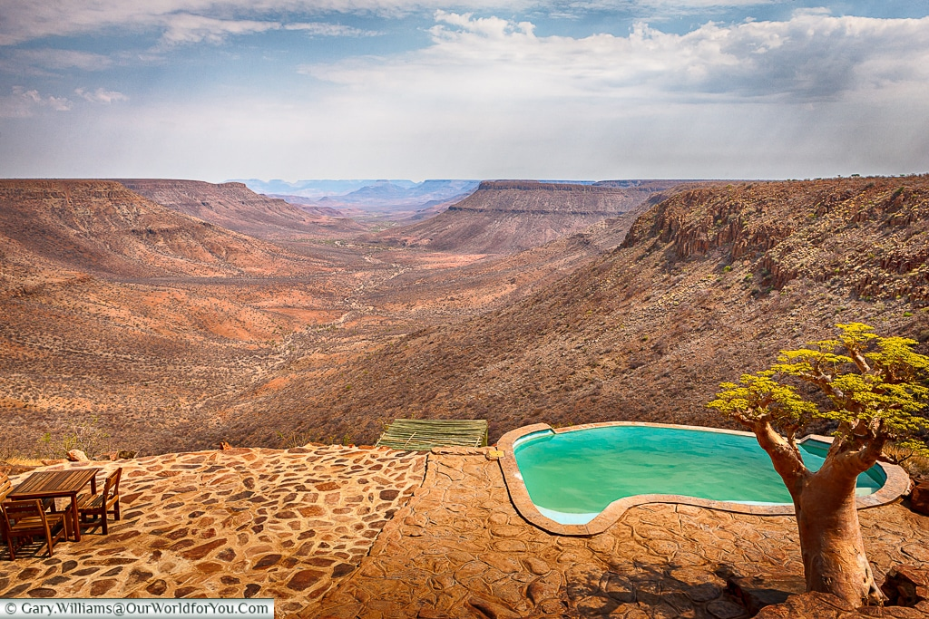 The view from Grootberg lodge along the Klip pass, Grootberg, Damaraland, Namibia