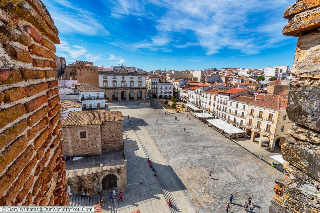 Plaza Mayor from the Bujaco Tower, Cáceres, Spain