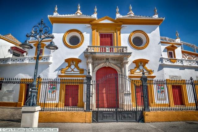 The main entrance of the bullring, Seville, Spain