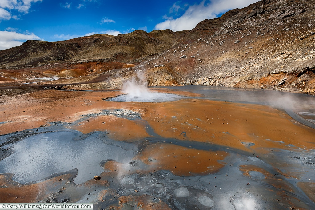 Sulfurous mud pools at the Seltún Geothermal Pools, along the Golden Circle, Iceland