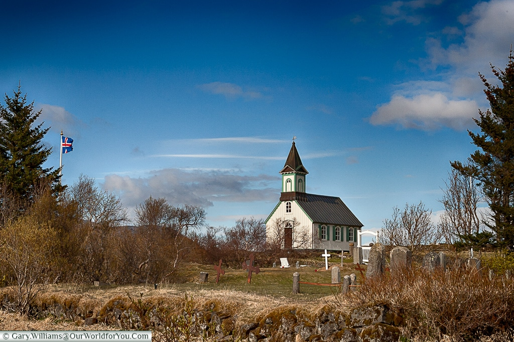 Thingvellir Church at the þingvellir National Park Valhallarveg, Iceland