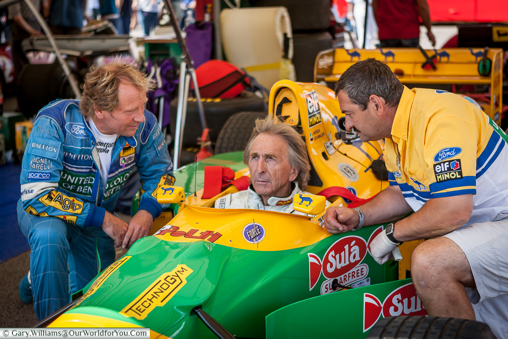 Derek Bell preparing for a balst up the hill, Goodwood, Festival of Speed