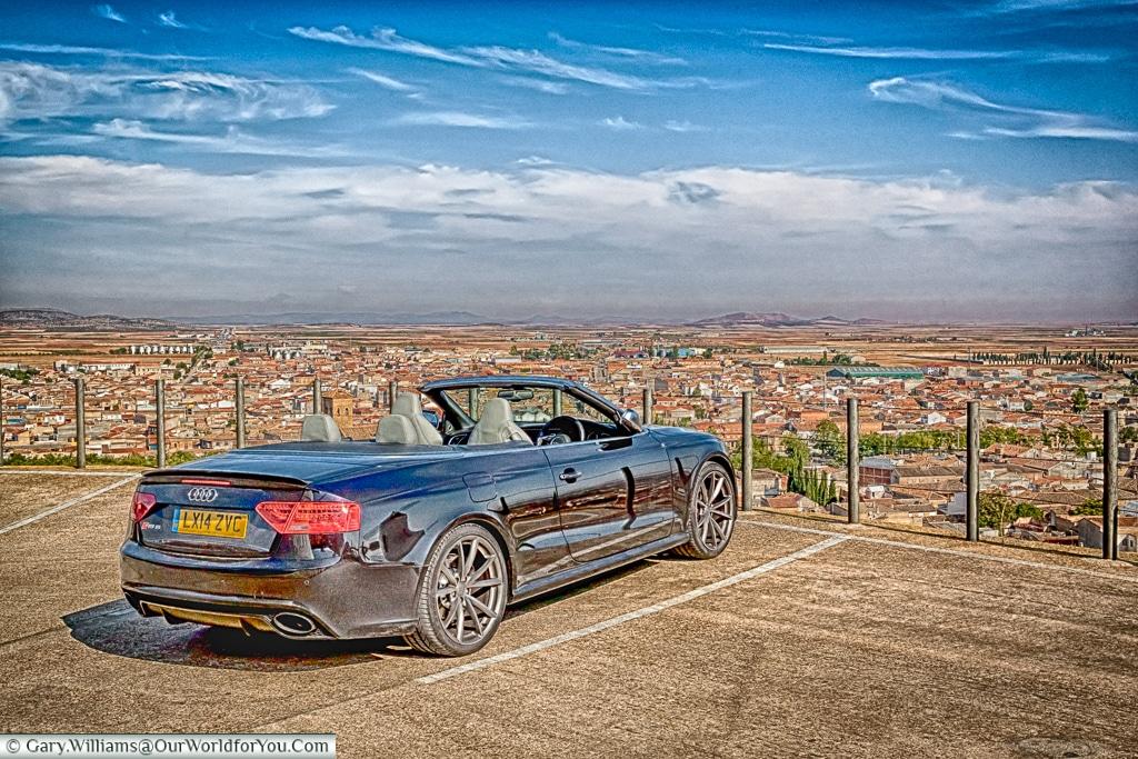 The Audi RS5 gazing across the plains of La Mancha, Spain.