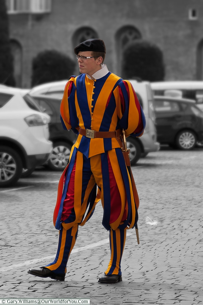 The Swiss guard protecting the Vatican City, Rome, Italy