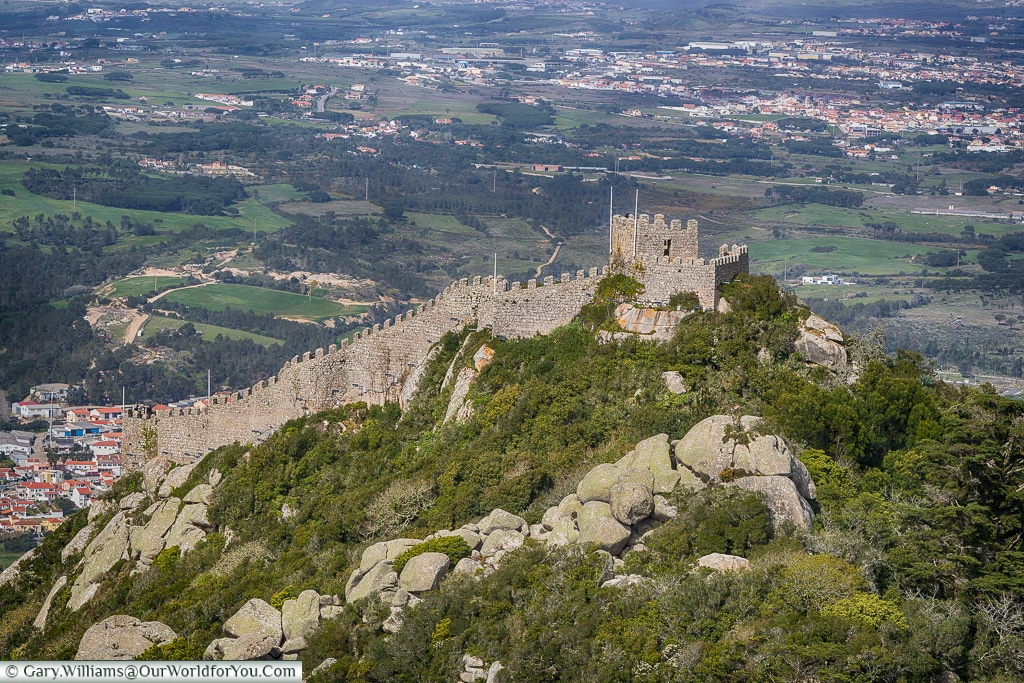 The castle of the moors from the Palace of Pena, Sintra, Portugal