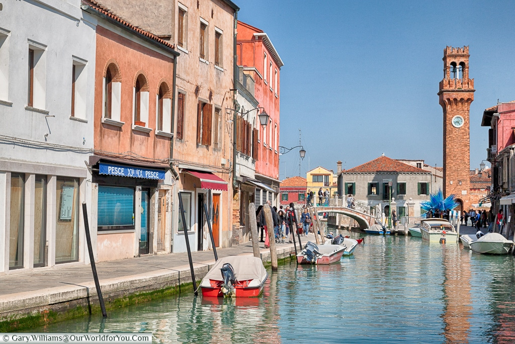 Wandering towards the clock tower, Murano, Venice, Italy