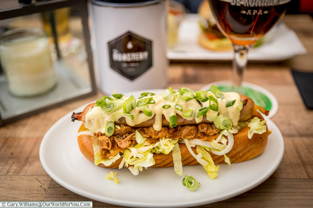 A sausage and pulled pork, Alkmaar, Holland, Netherlands