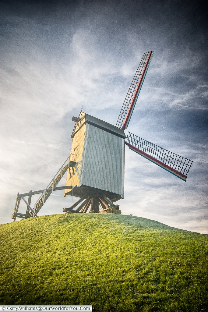 A windmill on the old city perimeter, Bruges, Belgium