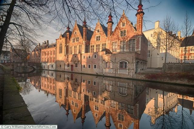 Calm canal side, Bruges, Belgium