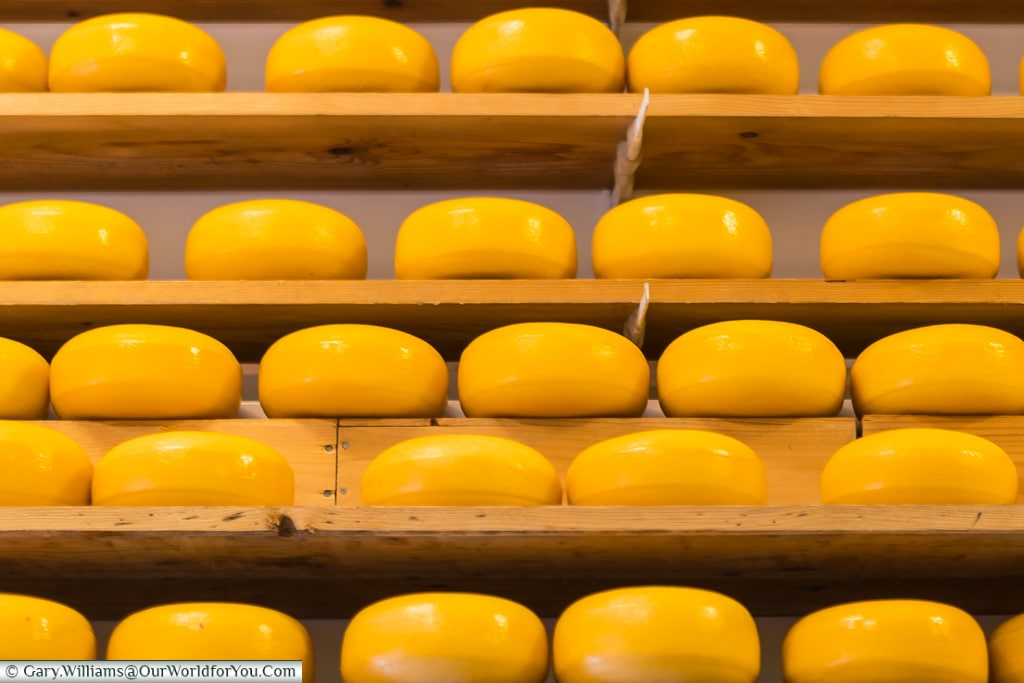 Edam Cheese, stacked in a Cheese shop, Holland, Netherlands