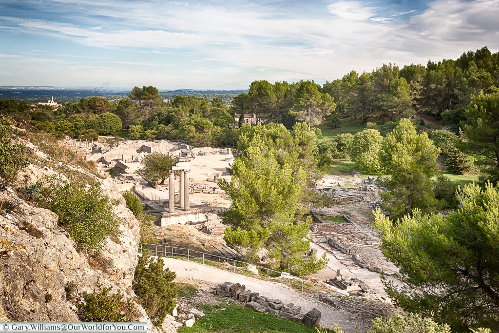 Looking down at the temple, Glanum, Saint-Rémy-de-Provence, France