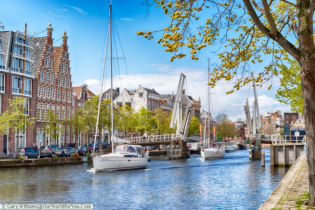 Sailing through Haarlem, Holland, Netherlands