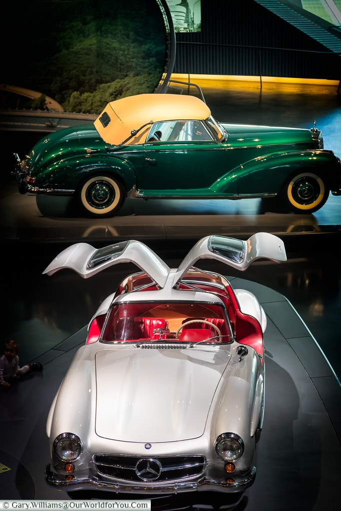 The 300 SL coupé and 300 S convertible A, Mercedes-Benz Museum, Stuttgart, Germany