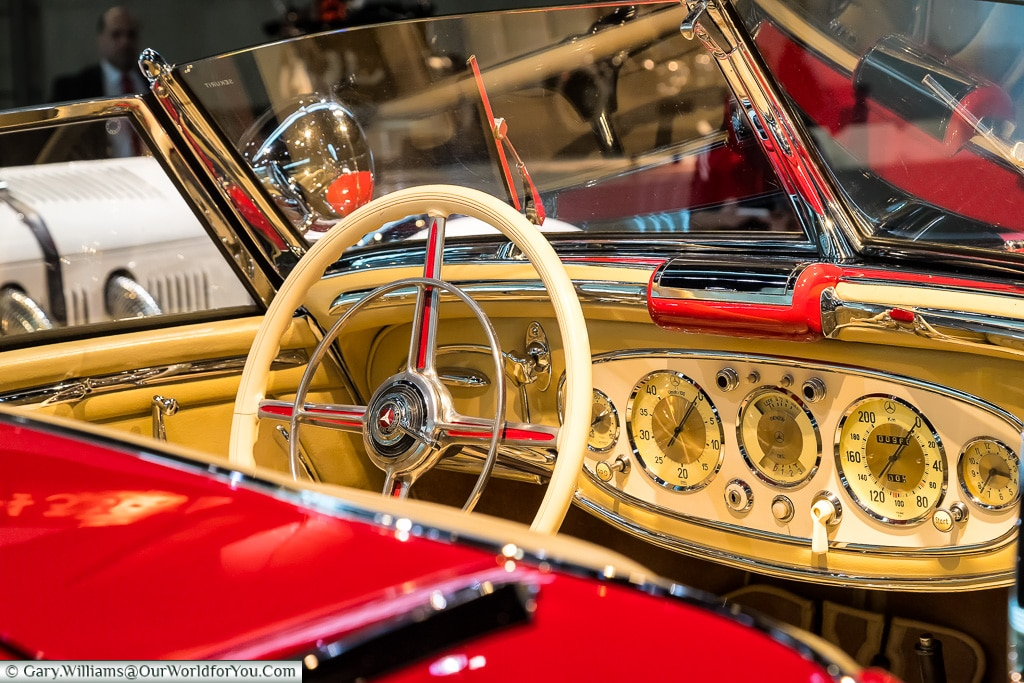 The dashboard of the 500 K special roadster, Mercedes-Benz Museum, Stuttgart, Germany