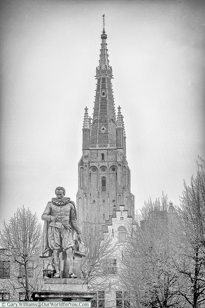 The statue of Simon Stevinplein , Bruges, Belgium