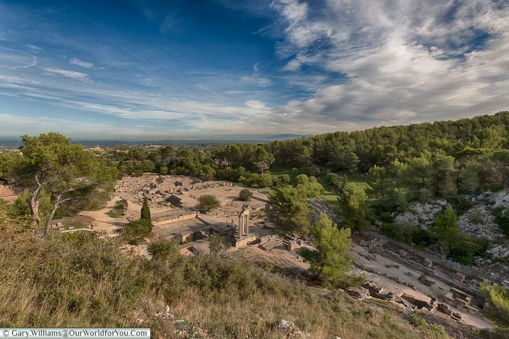 The whole site from the hill, Glanum, Saint-Rémy-de-Provence, France