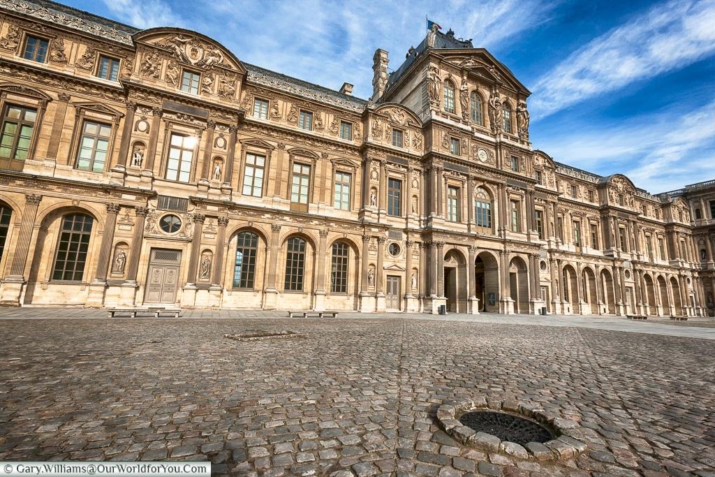 A courtyard inside the Palais du Louvre, Paris, France