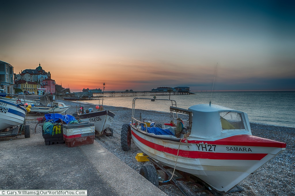 Boats at dusk, Cromer, Norfolk, England, UK