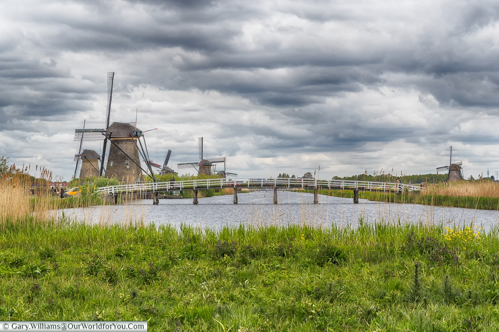 Bridging the waterway, Kinderdijk, Holland, Netherlands