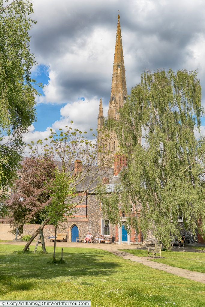 The Cathedral grounds, Norwich, Norfolk, England