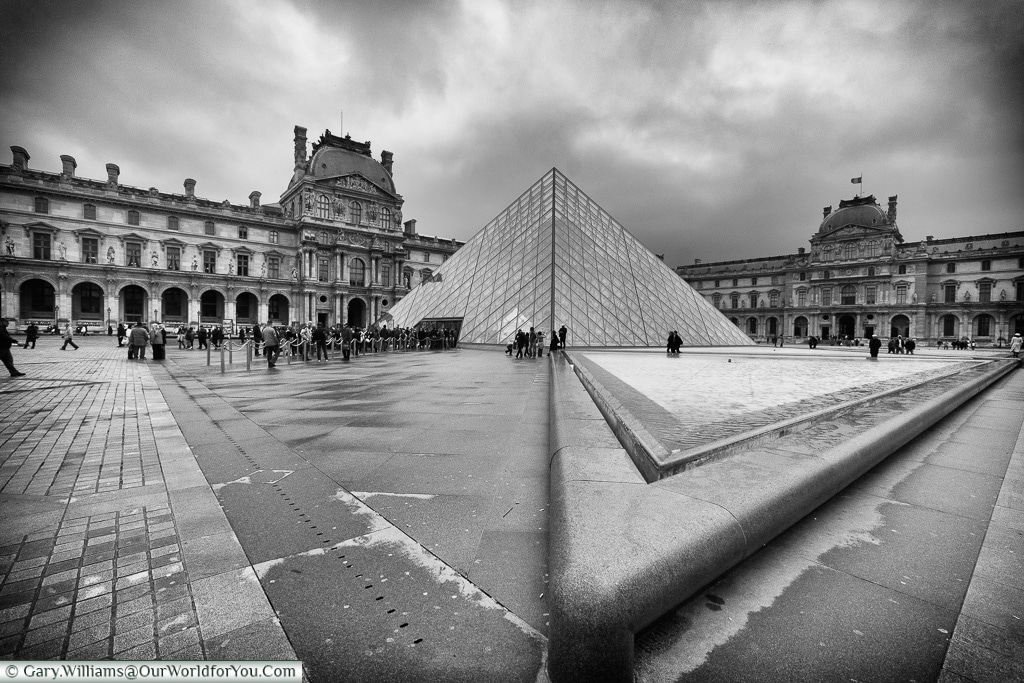 The Pyramid Entance to the Louvre, Paris, France