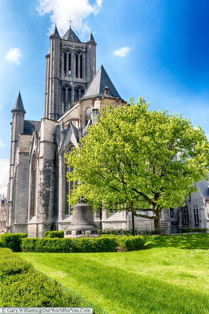 The bell in front of Saint Nicholas Church, Ghent, Belgium