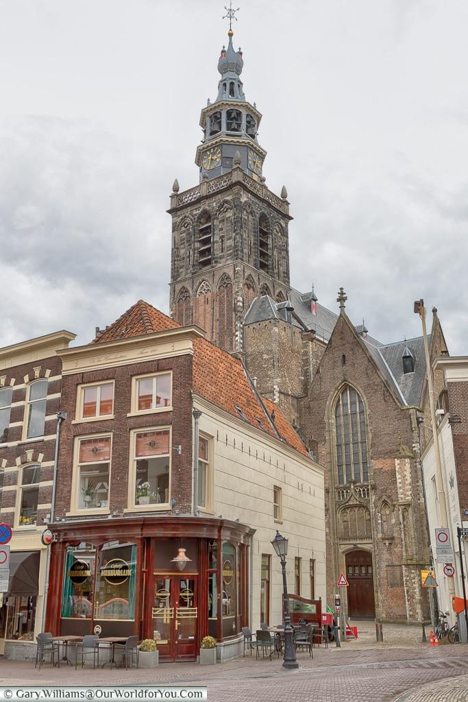 The spire of Sint-Janskerk, Gouda, Holland, Nethelands