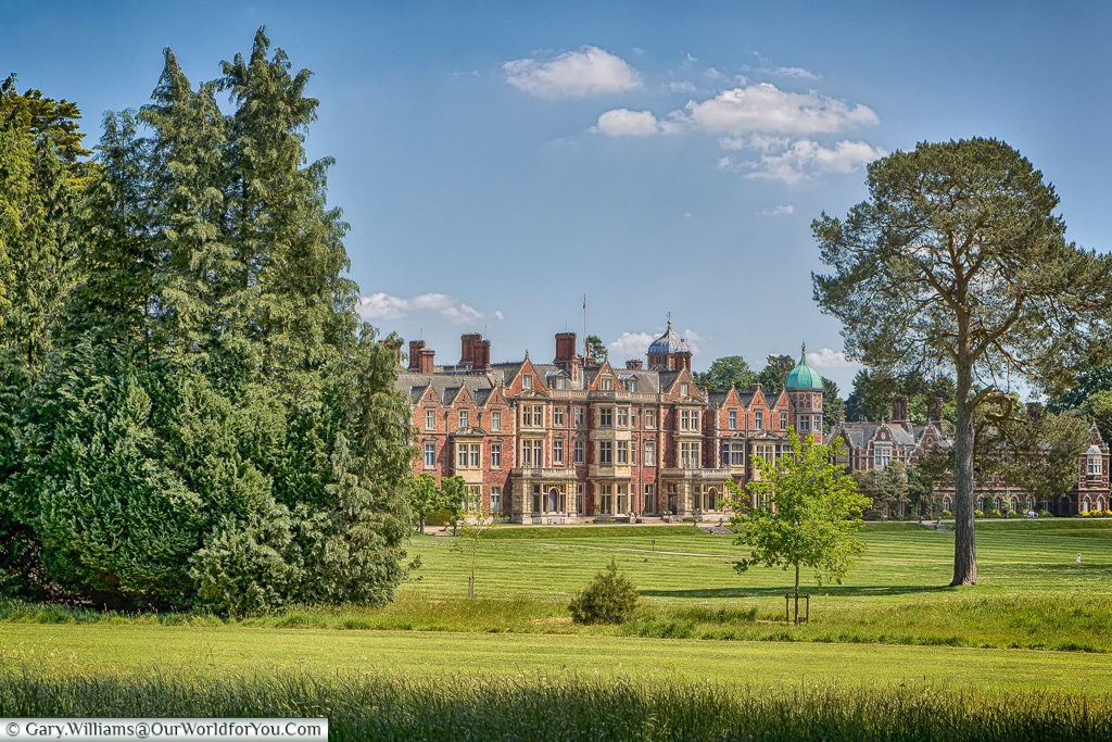 The view of the house from the grounds, Sandringham, Norfolk, England, UK
