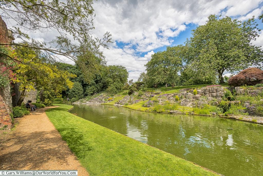 The moat around Eltham Palace, London, England, UK