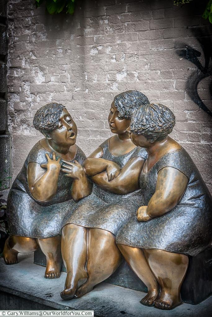 'Women Chatting' sculpture; Montreal, Quebec, Canada