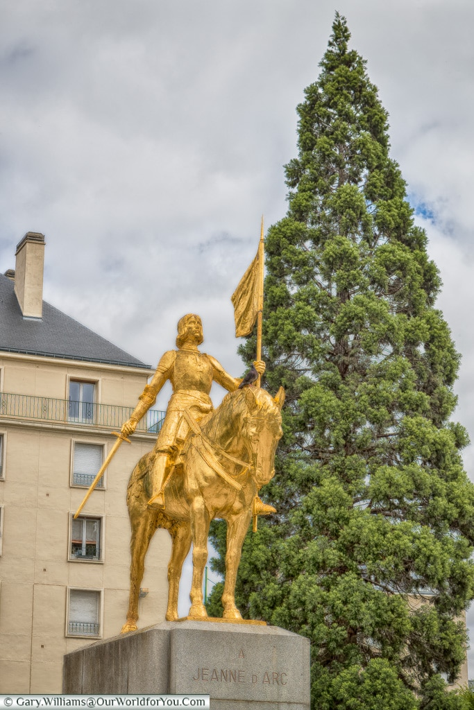 A statue of Joan of Arc, Normandy, France