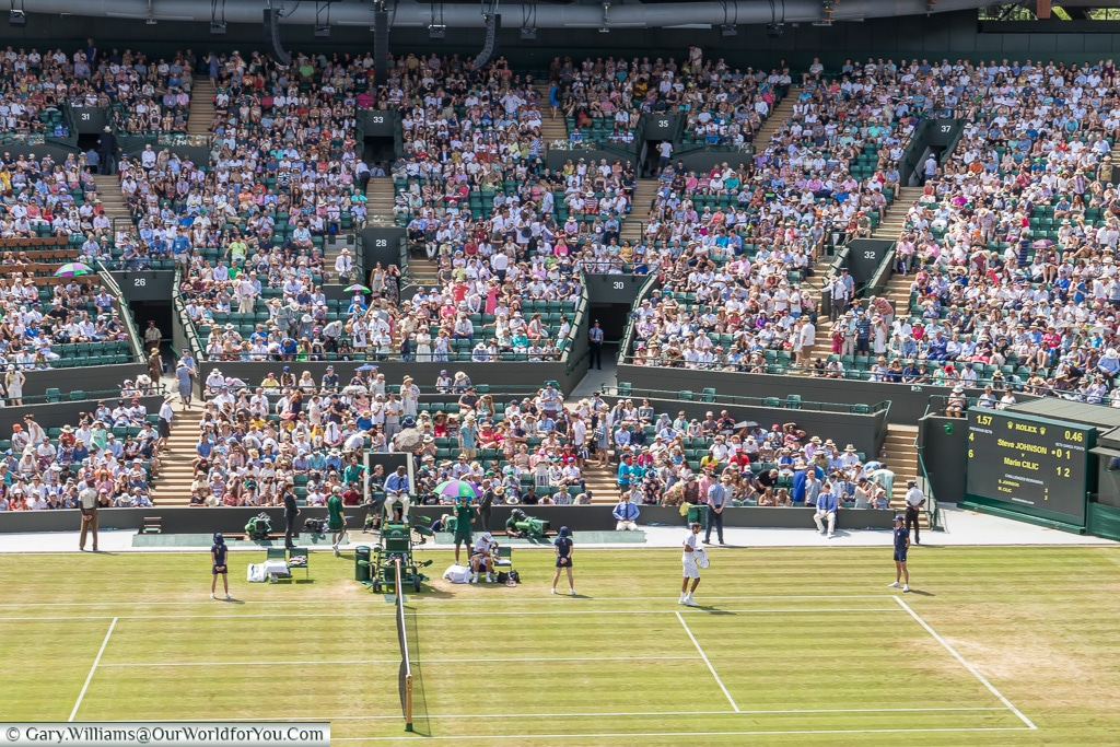 A view of Number 1 Court, Tennis, Wimbledon, London, England, UK