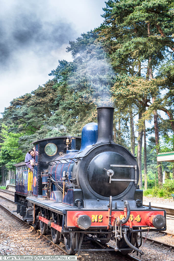 A blue steam locomotive, number 564, pulling into Holt station on the  North Norfolk Railway line.
