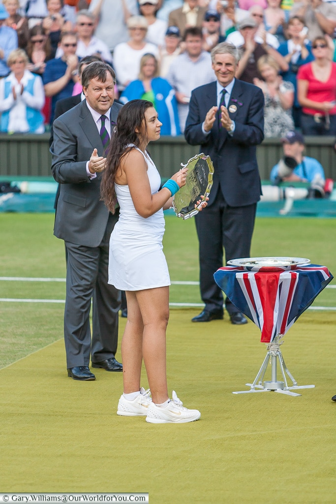 Marion Bartoli collecting the runners-up prize - 2007, Tennis,, Wimbledon, London, England, UK