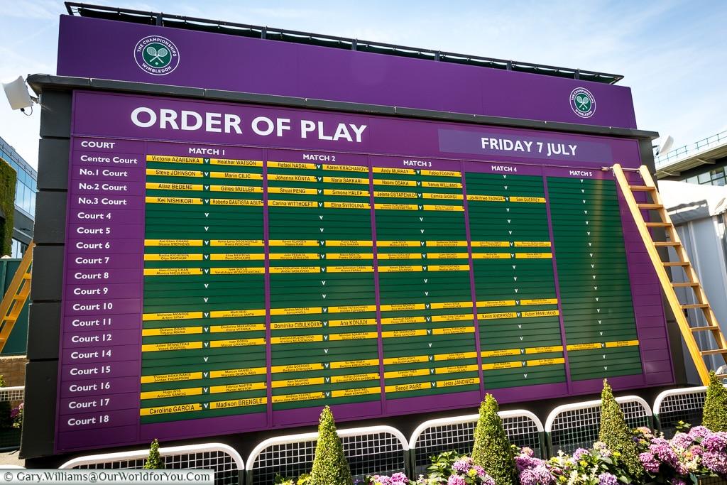 Order of Play, Tennis, Wimbledon, London, England, UK