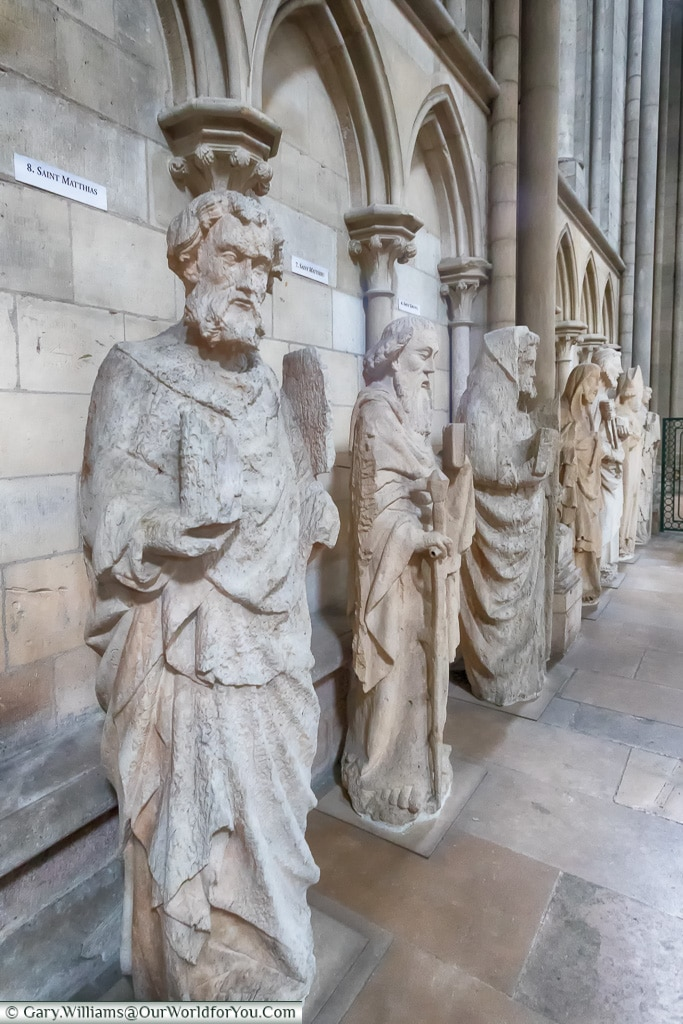 Statues inside the Cathedral, Rouen, Normandy, France