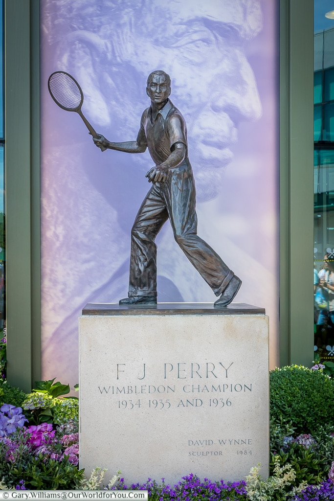 The Fred Perry Statue, Tennis, Wimbledon, London, England, UK