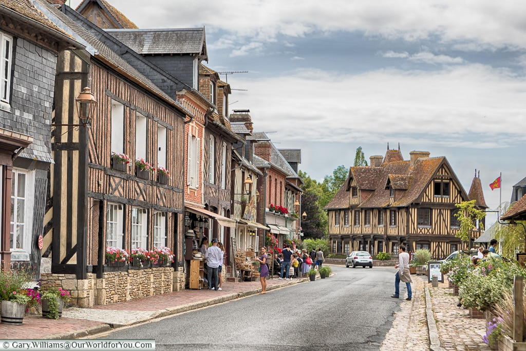 Along the high street, Beuvron-en-Auge, Normandy, France
