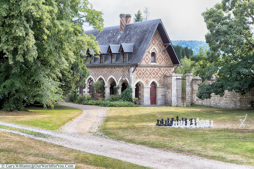 Chess in the grounds, Jumieges Abbey, Normandy, France