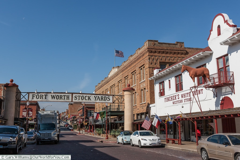 Entering the town, Stockyards. Fort Worth, Texas, USA