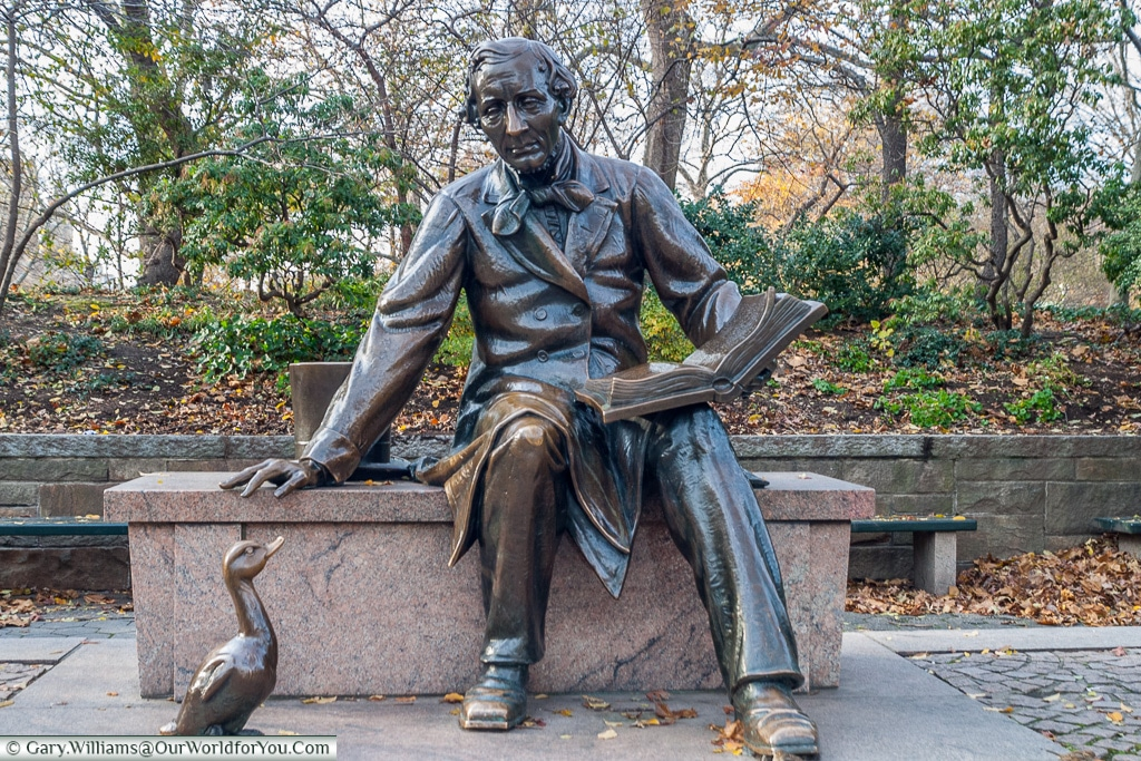 The Hans Christian Andersen statue in Central Park, Manhattan, New York, USA