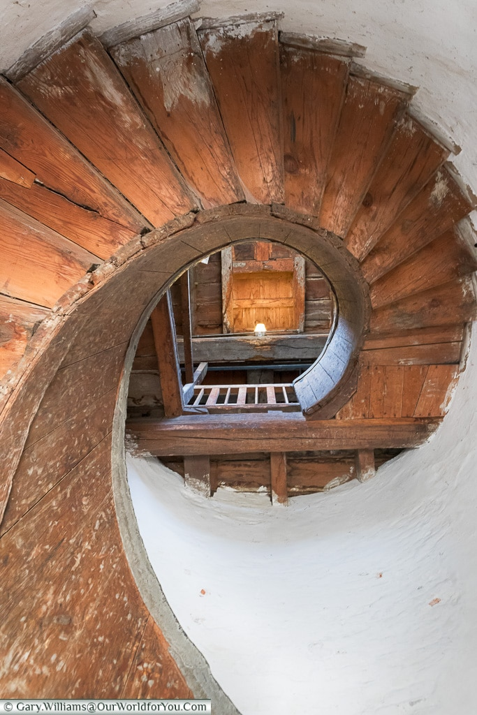 The spiral staircase, Upnor Castle, Upnor, Kent, England, UK