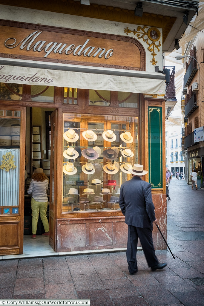 Admiring the choice, Seville, Andalusia, Spain