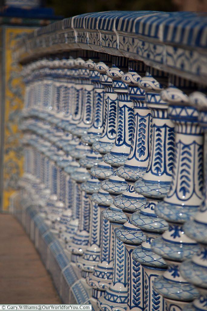 Bridge detail in the Plaza de España, Seville, Andalusia, Spain