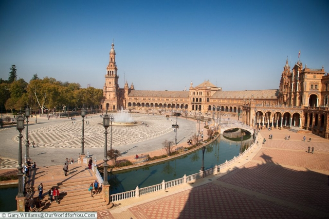 Looking across Plaza de España, Seville, Andalusia, Spain